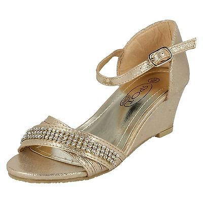 Infant Girls Sparkly Wedge Sandals Party Wear Gold or Silver - H1073 Uk10 - Uk2