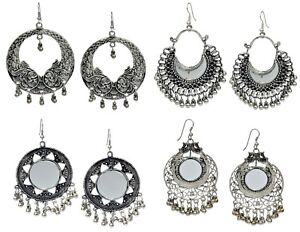 Details About Indian Bollywood Silver Oxidized Boho Tribibal Jhumka Fashion Jewelry Earrings