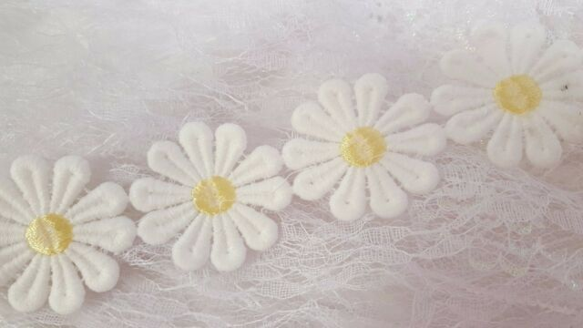 Daisy lace trimming large applique guipure embroidered trim lemon