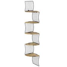 Eeilyin Wooden Corner Shelves for Wall,5 Tier Wall Mount Floating Shelves for Home,Bedroom,Kitchen and Plants Indoor Black