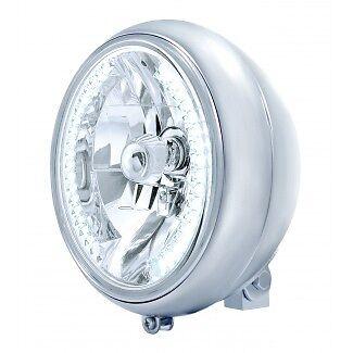 "Chrome 7"" Motorcycle Headlight w/34 White LED Bulb"