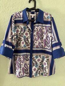 Chicos-Linen-Shirt-Button-Up-3-4-Sleeve-Blouse-Top-Sz-3-XL