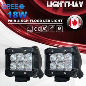 2Pcs 4inch 18W CREE Flood LED Work Light Bar Offroad 4WD ATV SUV Driving Lamp