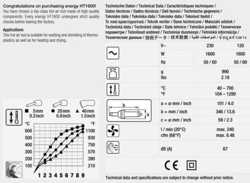 Weldy 1600W Hot Air Gun Swiss technology and engineering PVC TPO membranes