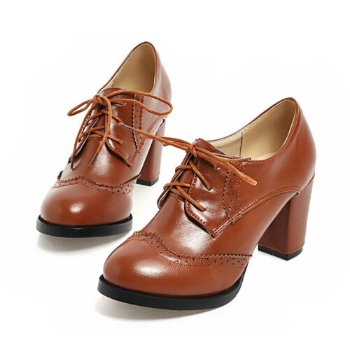 Women British Oxford Thick Heels Shoes Pointed Toe Pumps Lace Up Boots Fashion