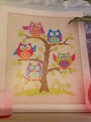 Having A Hoot Festive Owl Cards Christmas Cross Stitch Chart X4