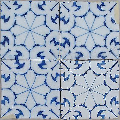 Vintage 4 Portuguese Tiles -Tile Set - Portuguese Tile Sec XIX - Vintage Tiles