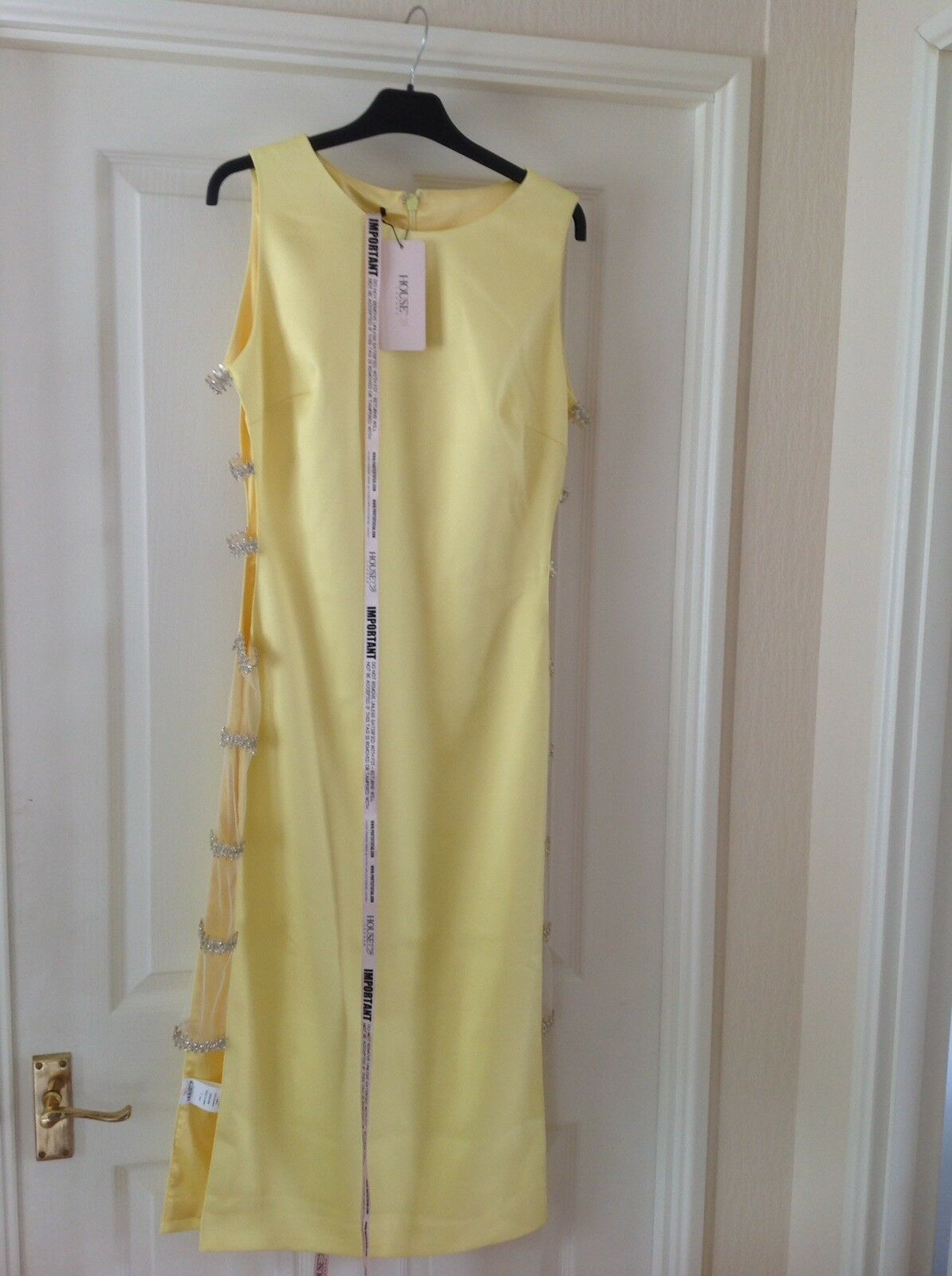 NEW Bright Yellow Satin Look Semi Fitted Dress With Open Sides Size L By HOUSE