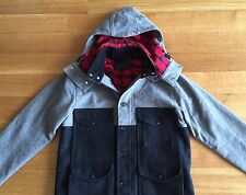 Filson Mens Wool Mackinaw Cruiser Gray Blue Buffalo Check Jacket Coat S Small