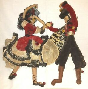 Lot of 2 Vintage Handcrafted Dolls ~ Made in India (PB)