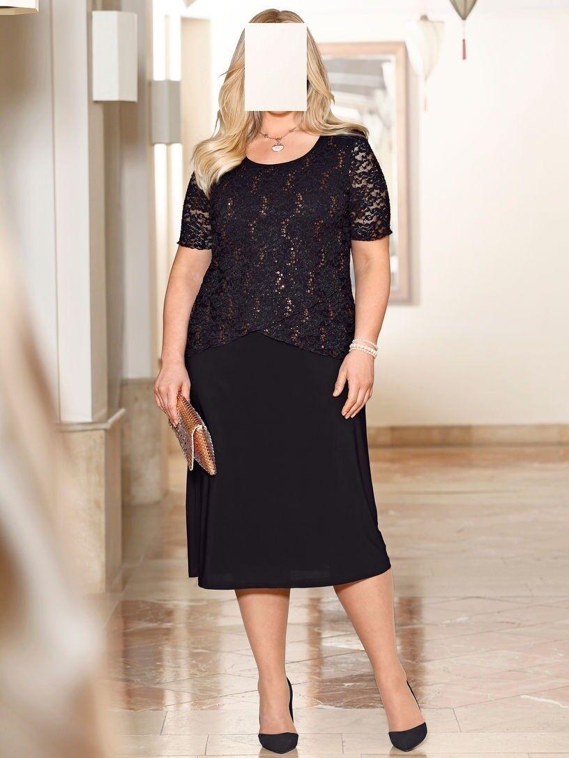 Marken 2 in 1 Kleid black mit Pailletten Gr. 58  0518412328
