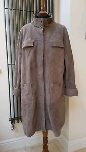 Xl Terrell Leather Genuine Length Taupe Beth Leopard Grey Knee Print Coat 100 C47xPqUP