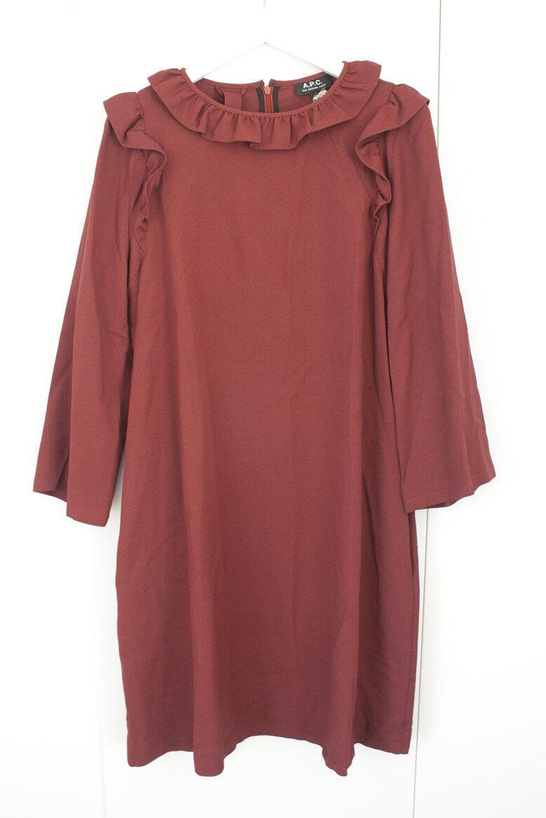 A.P.C. APC Noémie  rojo Volante Tapizados Crepe Vestido Reino Unido 12 EU 40 US 6-8 BNWT  preferente
