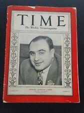 MAGAZINE TIME AL CAPONE   SCARFACE   ALPHONSE  MARCH  24  1930
