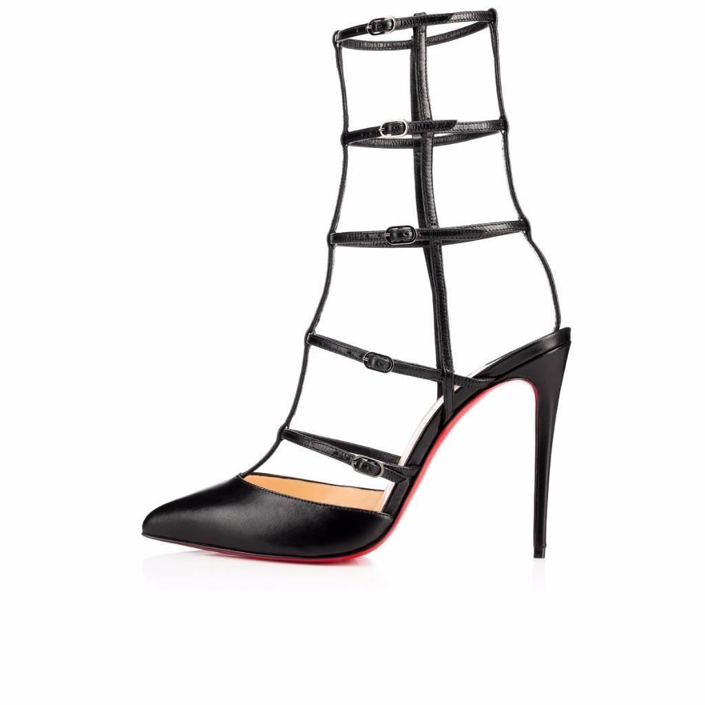 Christian Louboutin KADREYANA 100 Leather Caged Heels Sandals shoes Black  995