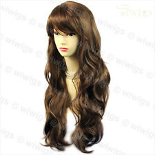 Wiwigs Beautiful Light Chestnut Brown Long Layered Way Skin Top Ladies Wig