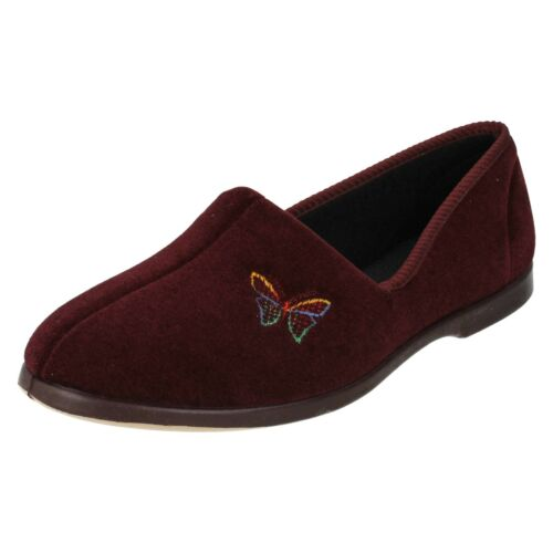 LADIES LADY LOVE BUTTERFLY WARM WINTER FLAT SLIP ON INDOOR SLIPPERS EMBROIDERED