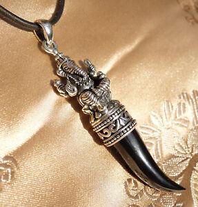 PRÄCHTIGER großer GANESHA Zahn Anhänger m Onyx aus NEPAL für Kraft, 925er Silber