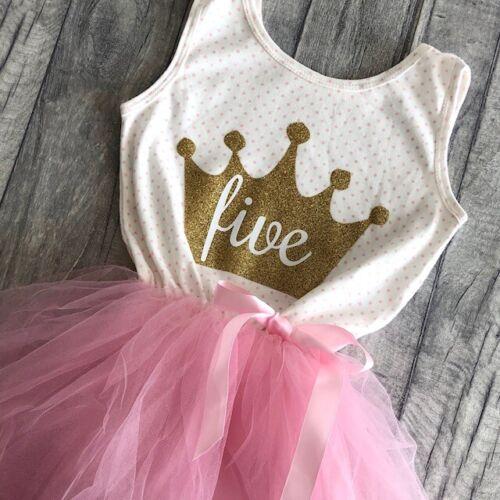 Polka Dot Sleevless Gold Crown Number Tutu Dress BIRTHDAY PRINCESS PARTY TUTU