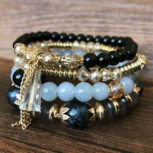 Retro Boho Multilayer Natural Stone Agate Turquoise Bangle Bead Bracelet Jewelry