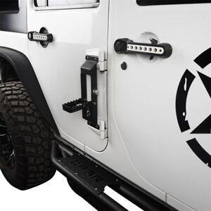 Details about Five Star Black Metal Door Hinge Side Foot Pedal Step for  07-18 Jeep Wrangler JK