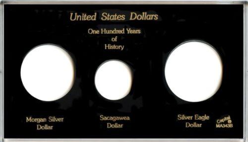 "Black Capital Plastic 4/"" x 7/"" Meteor 3-Coin Holder /""United States Dollars/"""