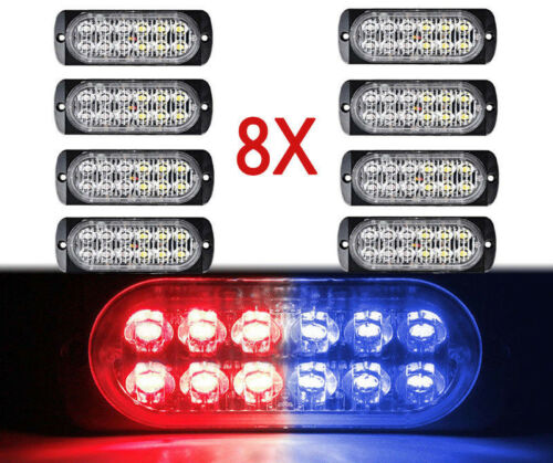 8x 12LED for Car Emergency Grille Hazard Warning Strobe Flash Light Bar Red Blue