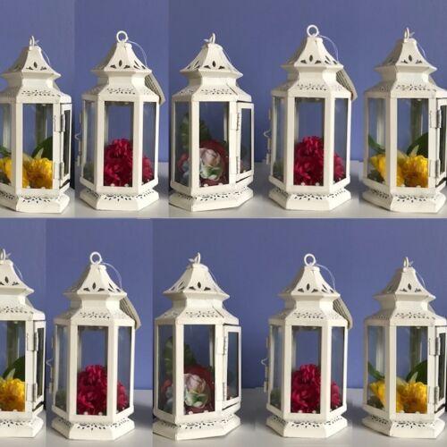 "Set Lot 15 White Lantern Small 8/"" Candle Holder Wedding Centerpieces"