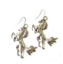 Silver Tone Galloping Horse Drop Earrings Hook Boho Festival Pony Unicorn 2043