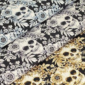 Cotton-Fabric-FQ-Skull-amp-Flower-Rock-Music-Gun-Roses-Floral-Dress-Quilting-VS18