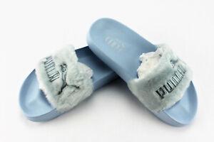 timeless design 643d9 6ef4e Details about Puma Fenty By Rihanna Fur Slide Cool Blue Silver Women's Size  7.5