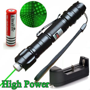 Military-10-Miles-532nm-Green-Laser-Pointer-Pen-Visible-Beam-Battery-Star-Cap