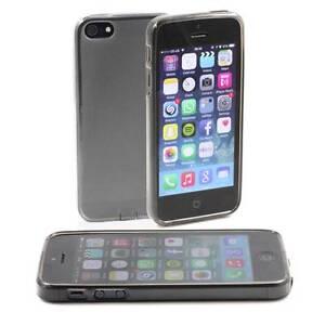 5-X-grau-APPLE-iPHONE-5-5G-WEICHES-GEL-SILIKON-GUMMI-HULLEN-MATTE-RUCKSEITE
