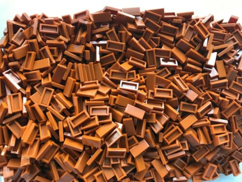 100 pieces 1 x 2  DARK ORANGE FINISHING TILES W// GROOVE LEGO NEW-3069b