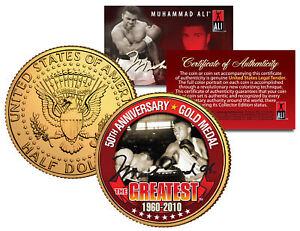 MUHAMMAD-ALI-50th-Anniversary-Gold-Medal-JFK-Half-Dollar-24K-Plated-US-Coin