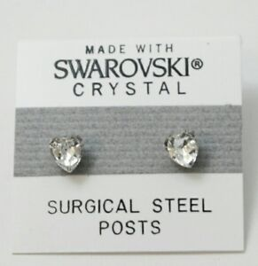 Silver-Heart-Stud-Earrings-8mm-Crystal-Made-with-SWAROVSKI-ELEMENTS-Gift