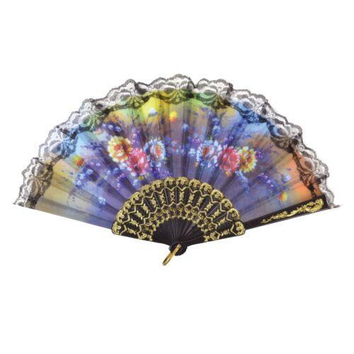 Ladies Spanish Floral Design Lace Fan Fancy Dress Accessory