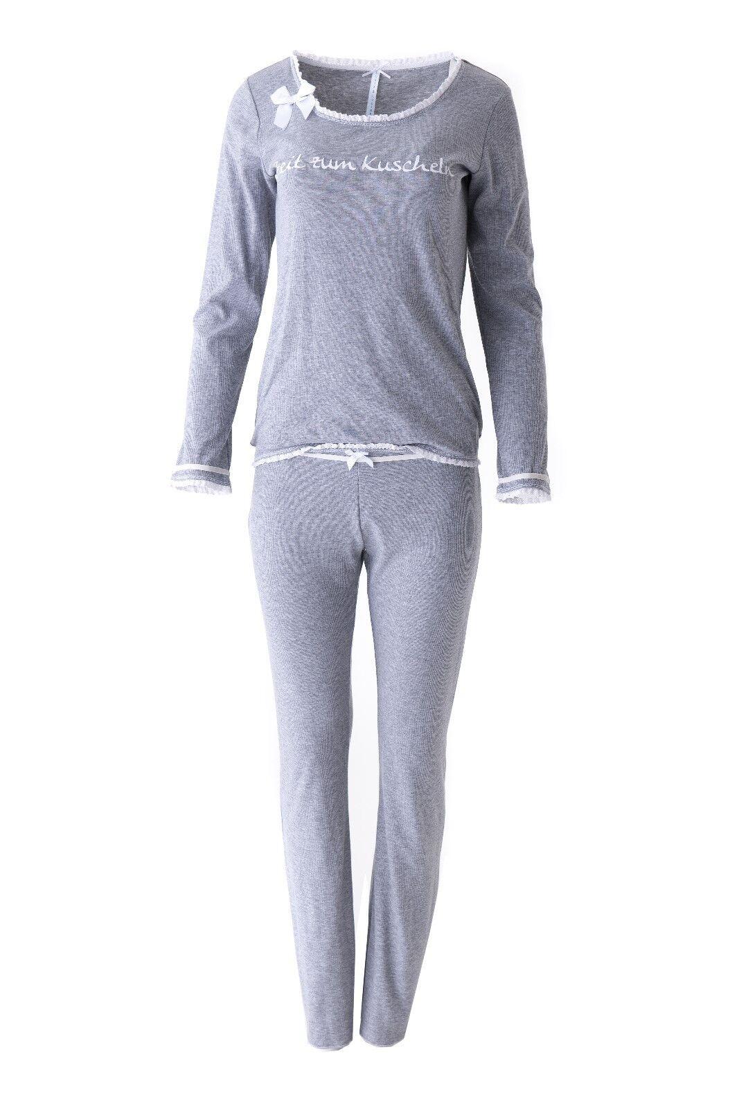 LOUIS & LOUISA   Zeit zum Kuscheln   Pyjama Rippe grey & Spitze Gr.S - XXL NEU