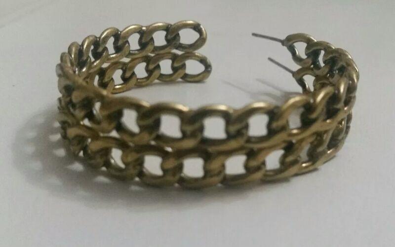 Womens Hoop Earrings Linked Gold Bronze Coloured Round Metal Costume Jewellery