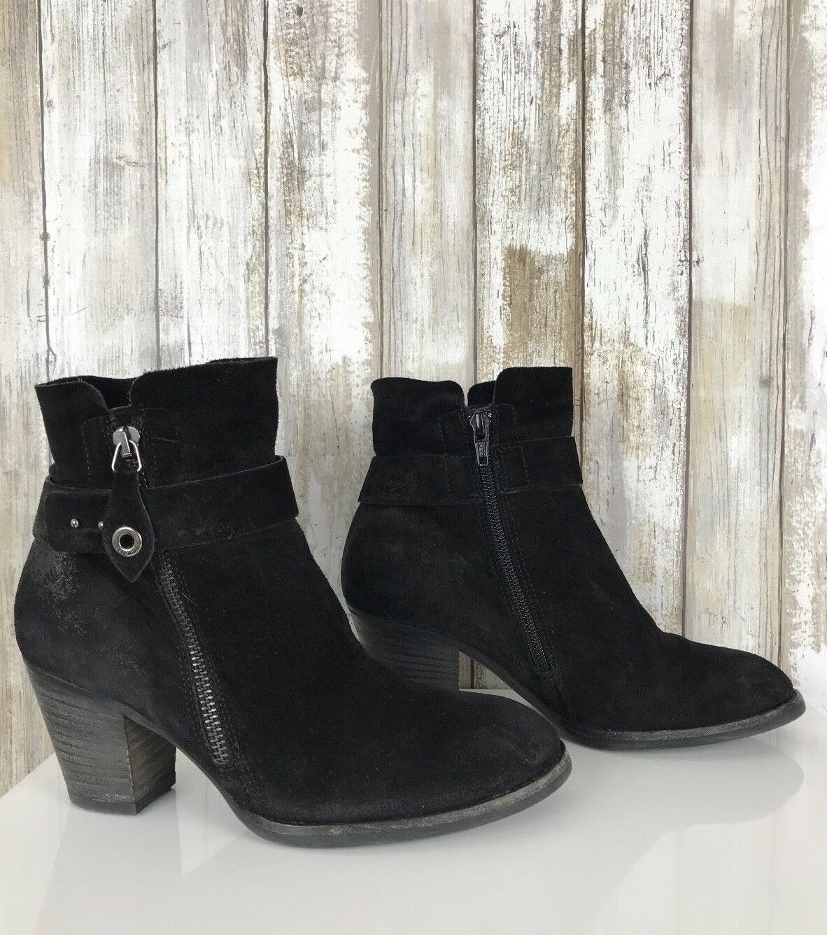 in vendita  375 PAUL verde Dallas nero Distressed Suede Suede Suede Ankle avvioie Heel Zipper US 6  wholesape economico