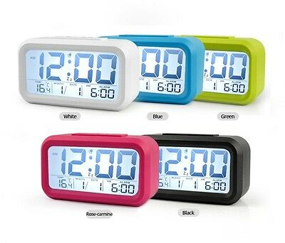 Snooze Digital alarm clock large LCD display light sensor control temperature