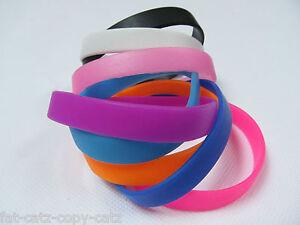 1 or 8 Adult Plain Silicone Rubber Fashion Bands Bracelets ...
