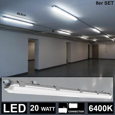 8x LED Decken Wannen Leuchte Feucht Nassraum Keller
