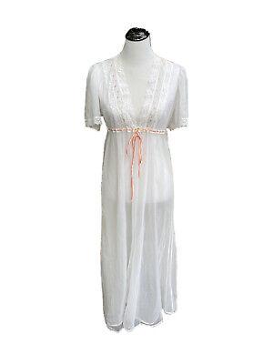 1970s Val Mode Orange Chiffon Gown /& Peignoir Set Floral Peignoir Set XS