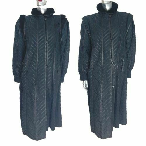 Rare Vintage Long Leather Coat Orfatti Shearling Big Sleeves Black Italy 42 8 S