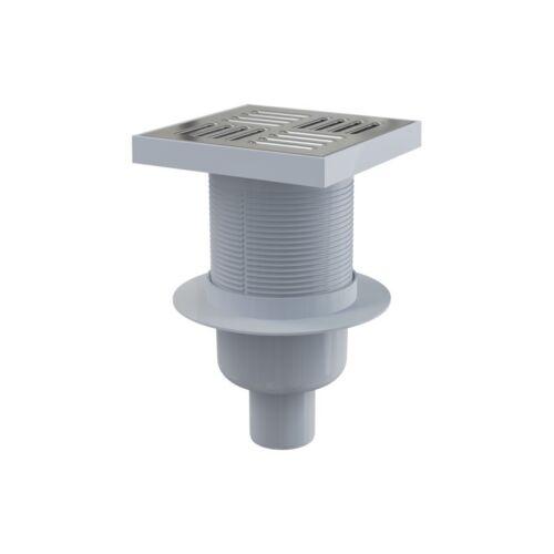 sortie verticale 150x150//50 mm Siphon de sol avec grille en inox