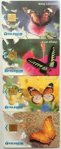 Malaysia Used Phone Cards - 4 pcs Butterflies