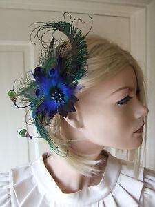 Royal capelli Blue April Fermaglio Blue Fg0304 di Navy piume Fascinator piume per e pavone con qXZZ8S5w