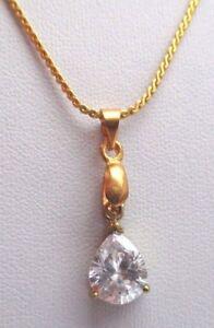 Beau Pendentif Collier Bijou Plaqué Or Goutte Zirconium à Facette Diamant 2689 Et D'Avoir Une Longue Vie.