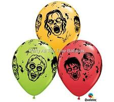 "12 NEW Zombie The Walking Dead Latex Balloons 11"" inch Halloween Free Shipping"
